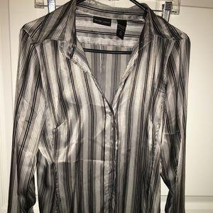 New York & Co Grey striped blouse - Medium